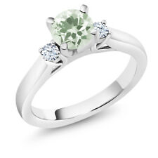 1.21 Ct Round Green Amethyst White Created Sapphire 14K White Gold 3-Stone Ring