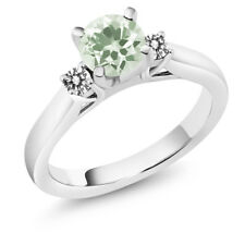 1.15 Ct Round Green Amethyst White Diamond 14K White Gold 3-Stone Ring