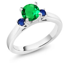 1.03 Ct Green Simulated Emerald Blue Simulated Sapphire 925 Sterling Silver Ring