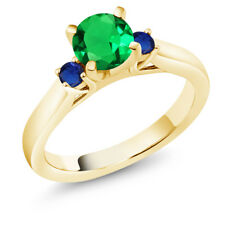 Simulated Emerald & Simulated Sapphire 18K Yellow Gold Plated Silver 3Stone Ring