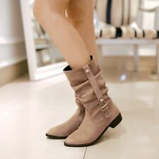 Fashion Womens Suede Mid-Calf Belt-Buckle Round Toe Knight Boots Plus Size Shoes