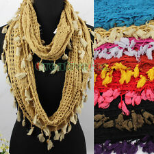 Fashion Womens Knit Hollow Acrylic Scarves Infinity Circle Loop Scarf Tassel New