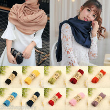 Fashion Womens Warm Long Big Crinkle Voile Soft Scarf Wrap Shawl Stole 65*180CM