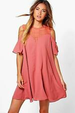 Boohoo Womens Coleen Lace Cold Shoulder Swing Dress