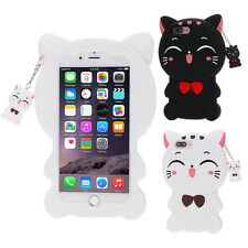 3D Cute Animal Cat Cartoon Soft Silicone Case Cover Back Skin For Apple iPhone