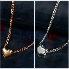 Women Fashion Lovely Gift Tiny Little Heart Love Gold Silver Pendant Necklace FA