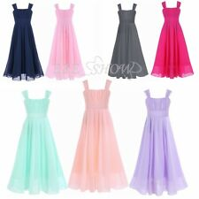 Flower Girls Dress Party Princess Holiday Wedding Maxi Dress Chiffon Long Gown