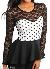 Black/White Lace w/Contrast Polka Dot Sweetheart Long Sleeve Peplum Style Top