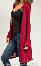 Burgundy L/Sleeve Open Crochet Hooded/Hoodie Tunic Sweater Cardigan/Wrap/Cover