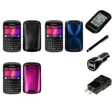 For BlackBerry Curve 9350 9360 9370 Aluminum Armor Cosmo Hard Case Charger