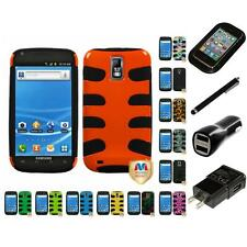For Samsung Hercules T989 Hybrid IMPACT Hard Soft Rugged Armor Case Charger