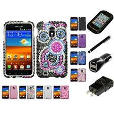 For Samsung Epic Touch 4G D710 Diamond Diamante Bling Rhinestone Case Charger