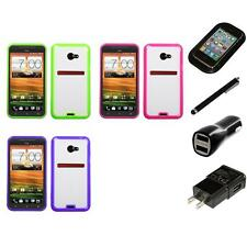 For HTC EVO 4G LTE TPU Hard Case Skin Phone Cover Charger Stylus