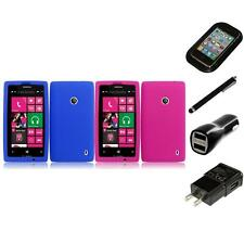 For Nokia Lumia 520 Silicone Skin Soft Rubber Case Phone Cover Charger Stylus