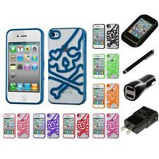 For Apple iPhone 4/4S TPU Hard Case Skin Phone Cover Charger Stylus