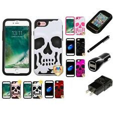 For Apple iPhone 7 [4.7] Hybrid Skull Skeleton Impact Hard Soft Case Charger