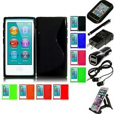 For Apple iPod Nano 7th Gen TPU Rubber Flexible Skin Case Phone Cover Bundle