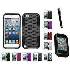 For Apple iPod Touch 5th 6th Gen Hybrid Rugged Impact Hard Soft Case Mount+Pen