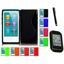 For Apple iPod Nano 7th Gen TPU Rubber Flexible Skin Case Phone Cover Mount+Pen