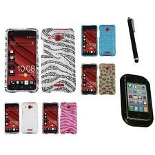 For HTC Droid DNA Diamond Diamante Bling Rhinestone Case Cover Mount+Pen