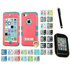 For Apple iPhone 5C Hybrid TUFF IMPACT Phone Case Hard Rugged Cover Mount+Pen