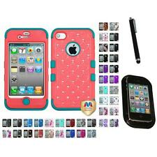 For Apple iPhone 4/4S Hybrid TUFF IMPACT Phone Case Hard Rugged Cover Mount+Pen