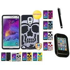 For Samsung Galaxy Note 4 Hybrid Skull Skeleton Impact Hard Soft Case Mount+Pen