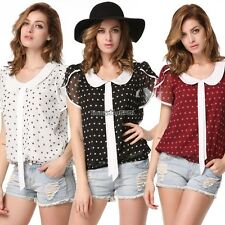 Women Plus Size Summer Casual Chiffon Shirt Polka Dot Doll Collar Blouse Top ED