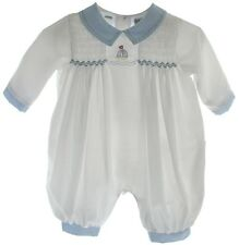 Preemie Boys White Sailboat Romper Outfit | Friedknit by Feltman