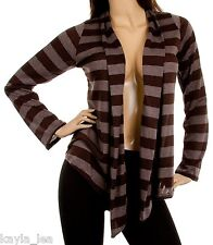 Brown Stripe Long Sleeve Shrug/Cover-Up Drape Scarf Tunic Cardigan #YJ-BS