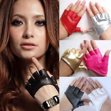 Stylish Women Ladies Half Finger PU Leather Gloves Fingerless Palm Driving Show