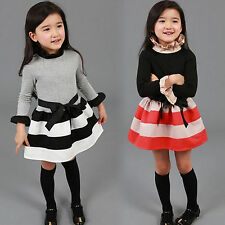 Kids Toddler Girls Princess Long Sleeve Stripe Sweater Jumper Dress Skater 2-7Y