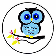 """5-7.5""""  BLUE OWL NURSERY WALL STICKER GLOSSY BORDER CHARACTER CUT OUT"""