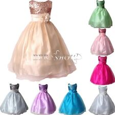 Flower Girl Dress Sequined Satin Party Wedding Princess Tulle Size 3-14 Pageant