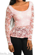 Gorgeous Salmon Pink Stretch Mesh Lace Long Sleeve Peplum Hi-Low Mermaid Top