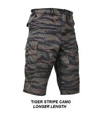 "LONG LENGTH Combat Cargo Shorts TIGER STRIPE CAMO 13.5"" Inseam BDU Army USMC USN"