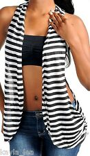 White/Black Stripe Racerback Drape Shrug/Cardigan Vest