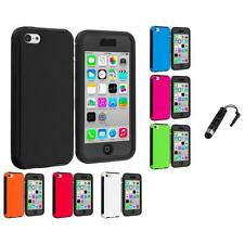 For Apple iPhone 5C Hybrid Case Cover Screen Protector Stylus Plug