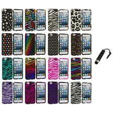 Zebra Polka Dot Hard Design Case Cover+Stylus Plug for iPod Touch 5th Gen 5G