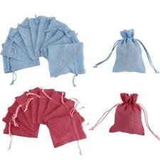 10x Linen Jute Sack Jewelry Pouch Drawstring Gift Bags Wedding Favor