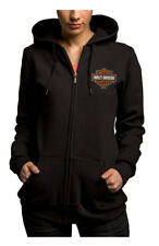 Harley-Davidson Women's Hot For Power Full-Zip Fleece Hoodie, Black 5M38-HB48