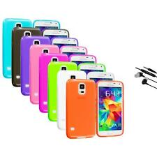For Samsung Galaxy S5 SV TPU Transparent Color Soft Case Cover+Earphone Mic