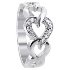 925 Sterling Silver Polished Finish Round Cubic Zirconia Hearts Ring #TDRS107
