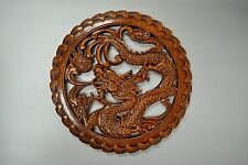 New Asian Chinese Round Camphor Wood Carving Panel Wall Art Home Decor Dragon