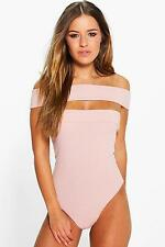 Boohoo Womens Petite Alison Off The Shoulder Rib Body