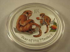 2016  Colored 2 Oz Silver Year Of Monkey Lunar Coin Perth Mint Australia