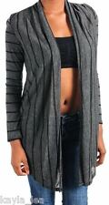 Black/Gray Stripe Long Sleeve Drape Shrug/Cardigan Tunic S