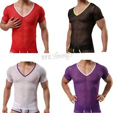 Mens Short Sleeve Mesh Top V Neck Small Hole Fishnet See Through T-Shirt 4 Color