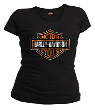 Harley-Davidson Women's Distressed Bar & Shield Short Sleeve Tee, Solid Black