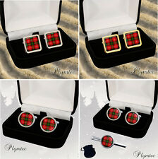 MACKINTOSH SCOTTISH CLAN TARTAN MEN'S CUFFLINKS / TIE SLIDE SET GIFT ENGRAVING